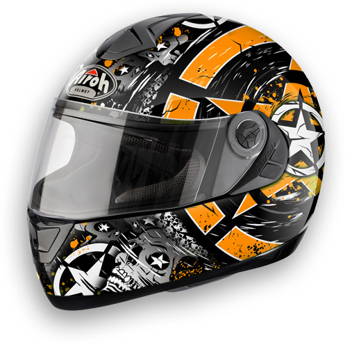 Motorcycle Helmet Airoh Aster-X Skull glossy orange