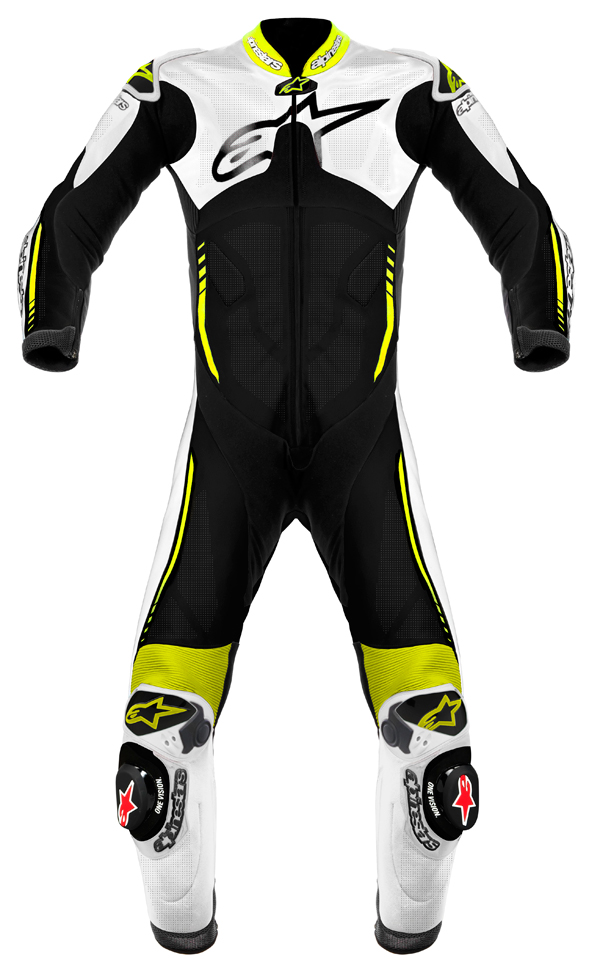 Alpinestars Atem leather suit white-black-yellow fluo