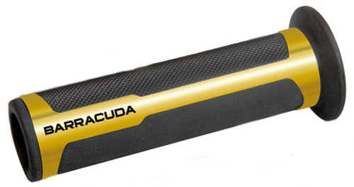 Coppia manopole supergrip racing alluminio Barracuda Oro-Nero