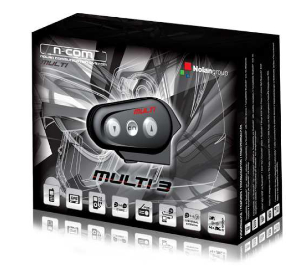 N-Com Multi 3 Twin Pack Bluetooth interphone for two helmets