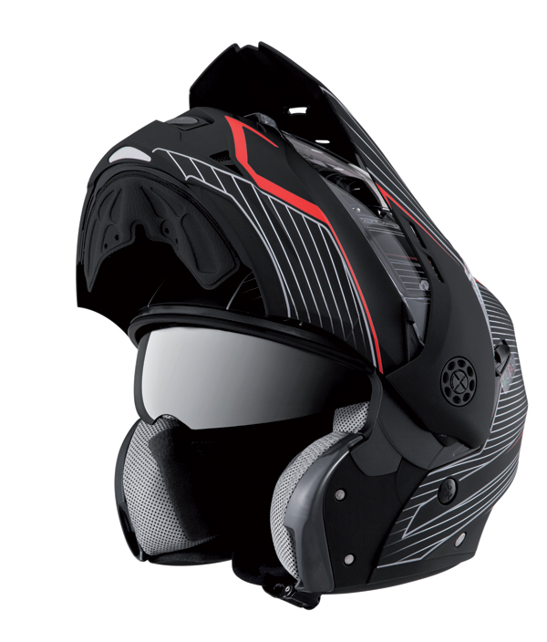 Caberg Tourmax Sonic flip off helmet Matt Black Red