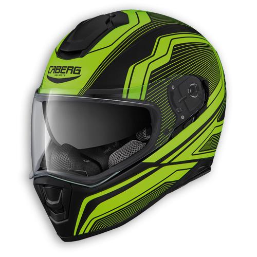 Face helmet Caberg Drift Flux matte black neon yellow