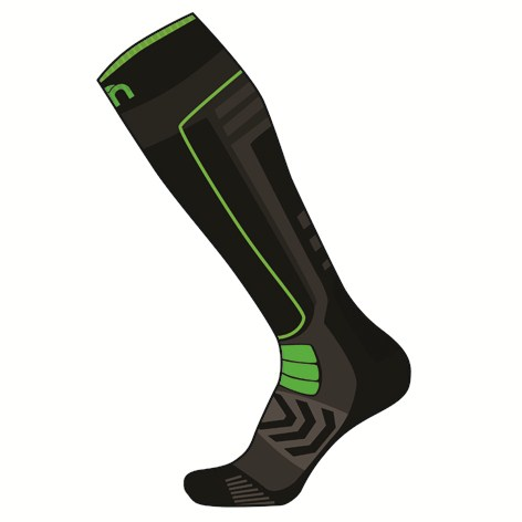 Mico Performance Ski Socks Medium Black Green