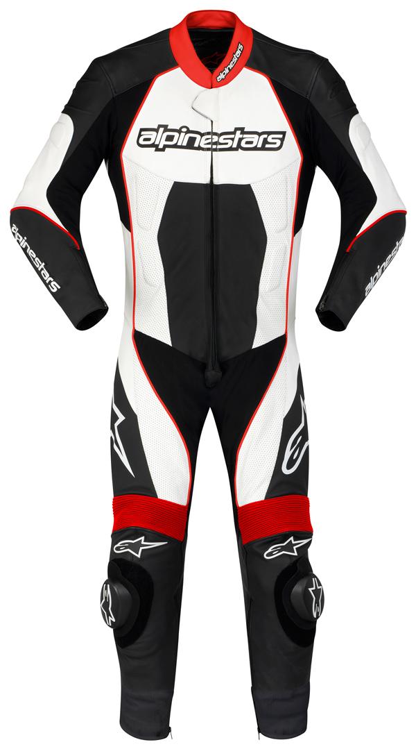 Tuta moto intera Alpinestars Carver nero-bianco-rossa
