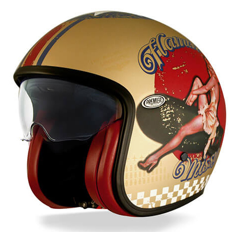 Casco jet Premier Vintage Pin Up Gold BM