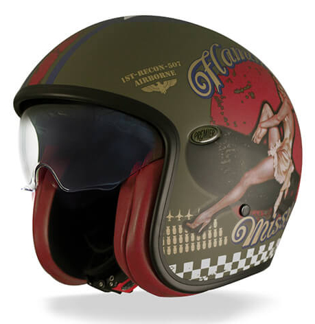 Casco jet Premier Vintage Pin Up Military