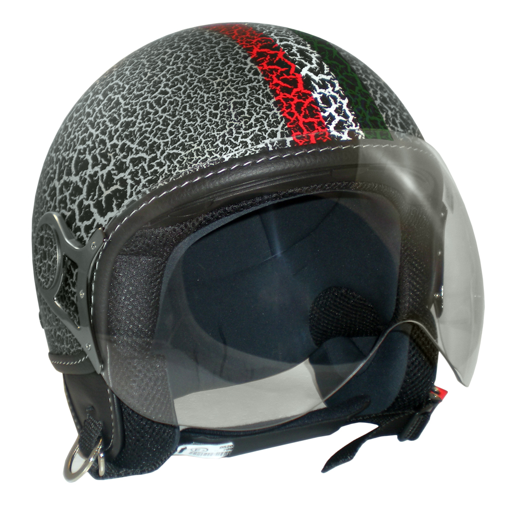 Casco jet Max Power Crack Bandiera