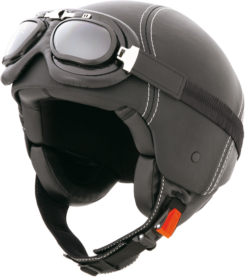 Casco moto jet Caberg Century in pelle, occhiali inclusi nero