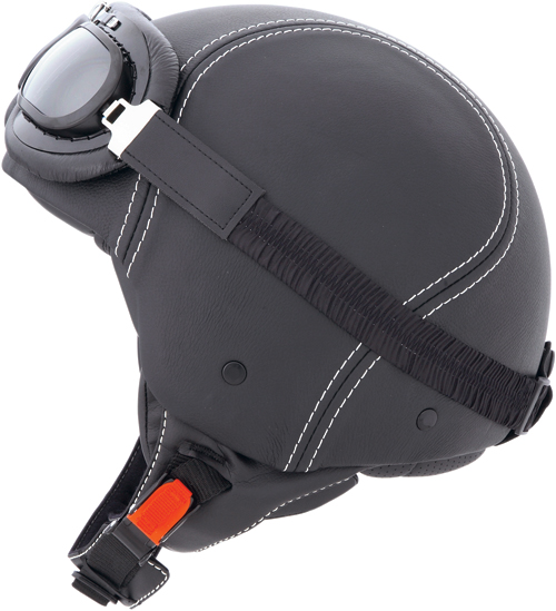 CABERG Century jet helmet leather, goggles included black