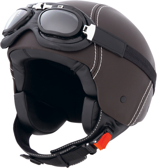 CABERG Century jet helmet leather, goggles included brown