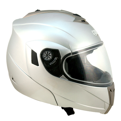 CGM THUNDERBOLT flip off helmet with double visor Silver