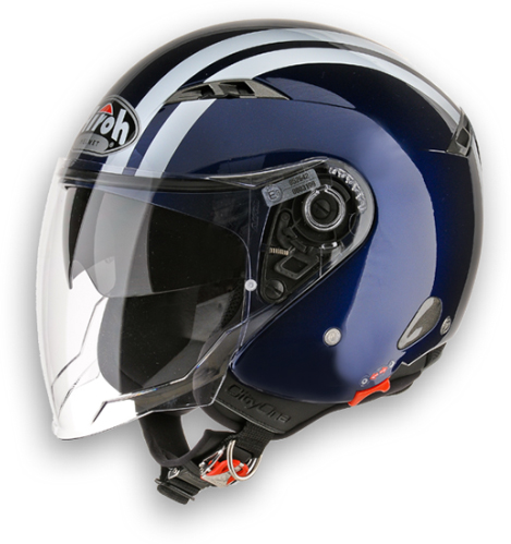 Casco moto Urban Jet Airoh City One Flash blu scuro lucido