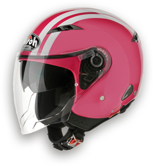 Casco moto Urban Jet Airoh City One Flash rosa lucido