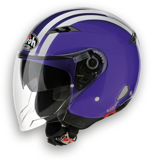 Casco moto Urban Jet Airoh City One Flash viola lucido