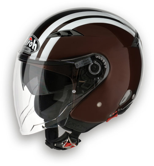 Casco moto Urban Jet Airoh City One Flash marrone
