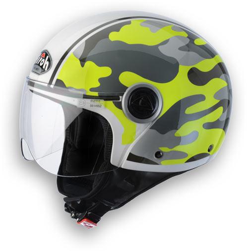 Casco moto Airoh Compact Military giallo lucido