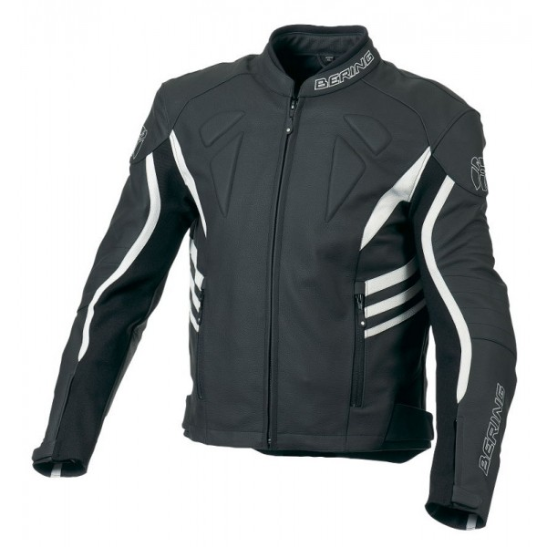 Leather motorcycle jacket Bering Approved Mikio Black White