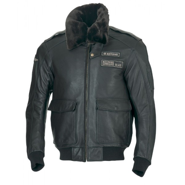 Approved leather motorcycle jacket Bering Stanley Brown