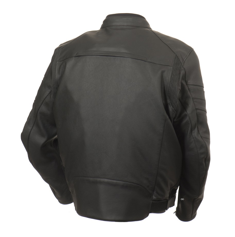 Leather motorcycle jacket Bering Approved Marco King Size Black