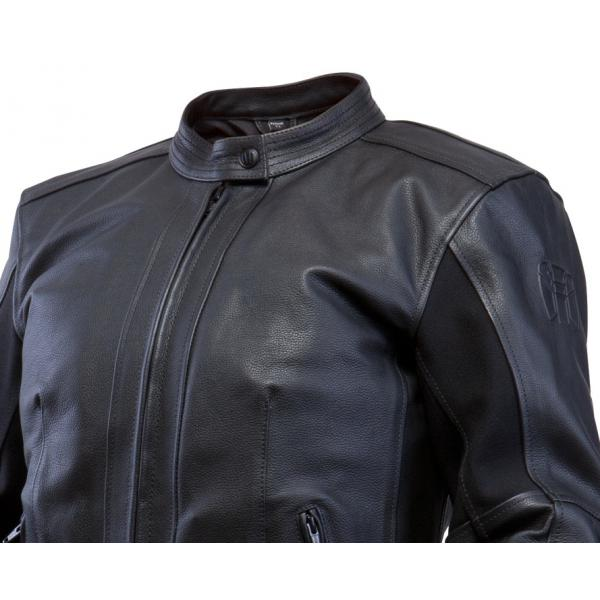 Approved woman leather motorcycle jacket Bering Filisse Black