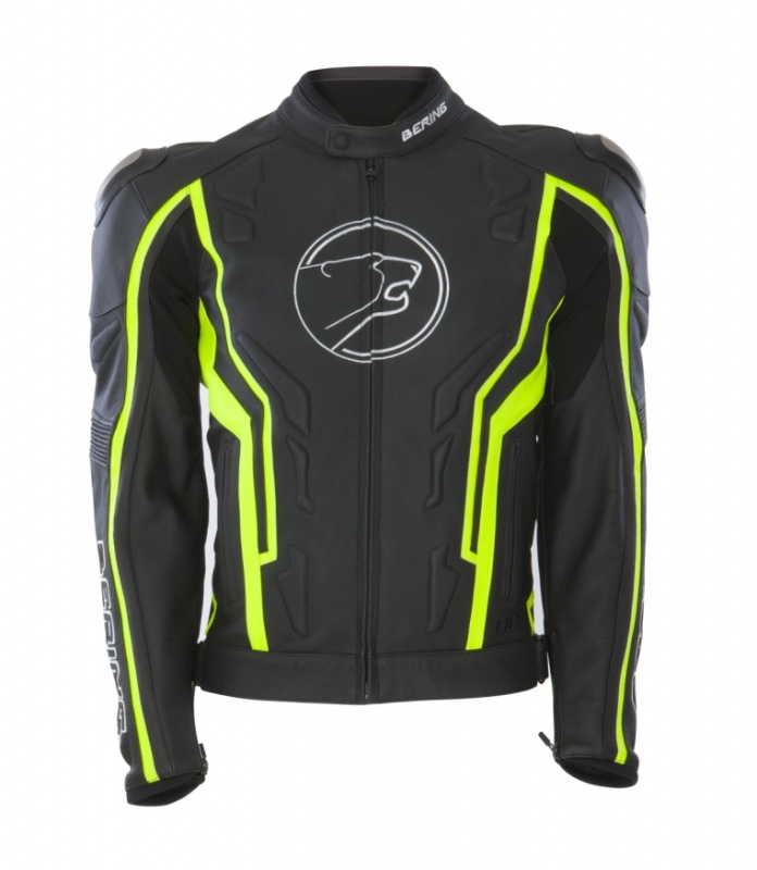 Approved leather motorcycle jacket Bering Flash Black White Fluo
