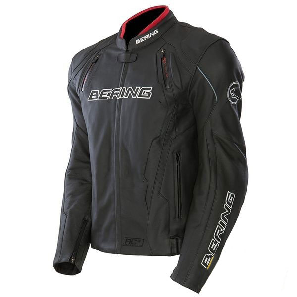 Approved leather motorcycle jacket Bering Kingston Black