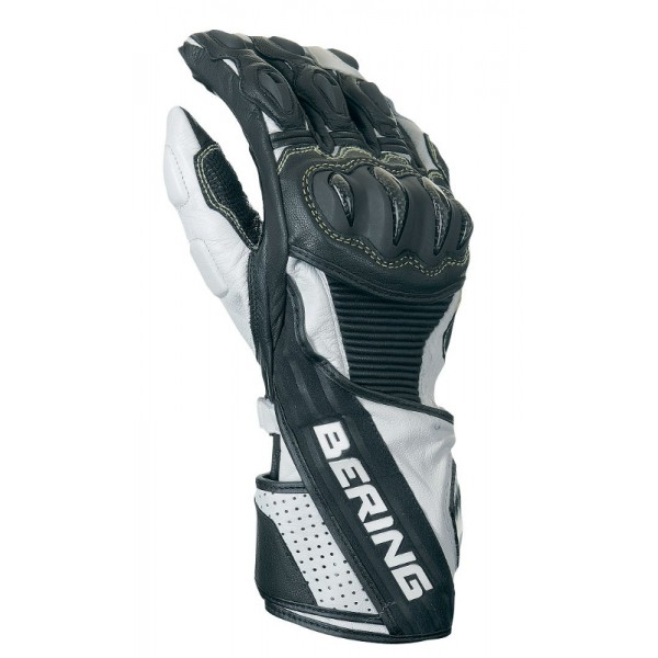 Leather motorcycle gloves approved Bering RX19 Black White