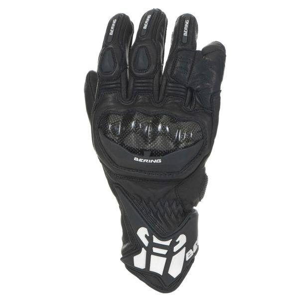 Leather motorcycle gloves approved Bering Zaius Black