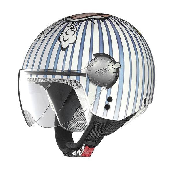 Grex DJ1 City Helmetart jet helmet White Blue