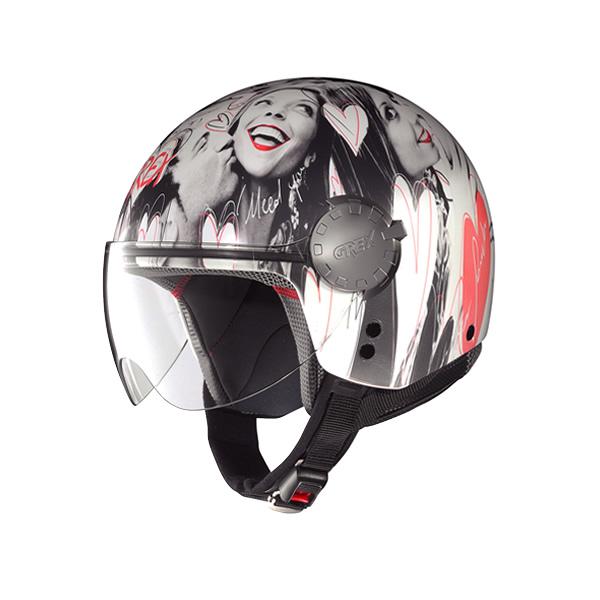 Grex DJ1 City Artwork demi-jet helmet white 136