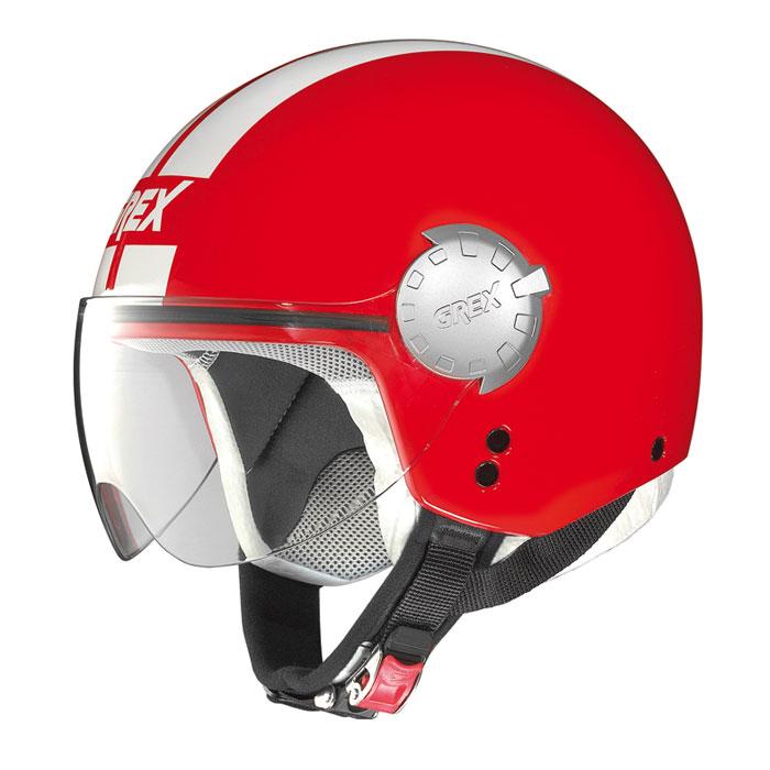 Casco demi jet Grex DJ1 City Stripes rosso lucido