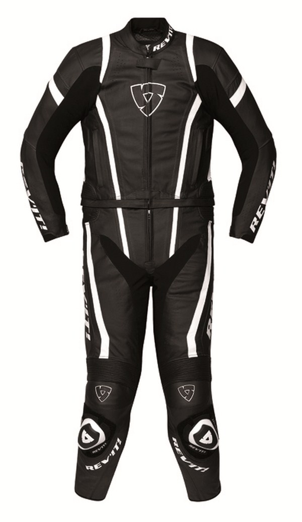 Tuta moto pelle Rev'it Warrior Nero Bianco
