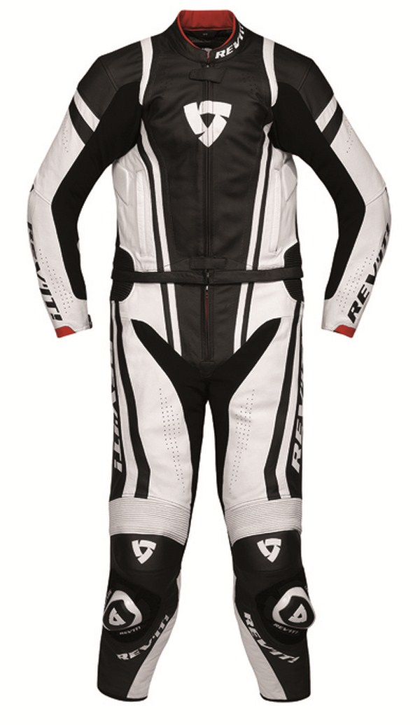 Leather biker motorcycle jacket Rev'it Warrior White Black