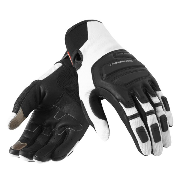 Leather motorcycle gloves Rev'it Neutron Summer Black White