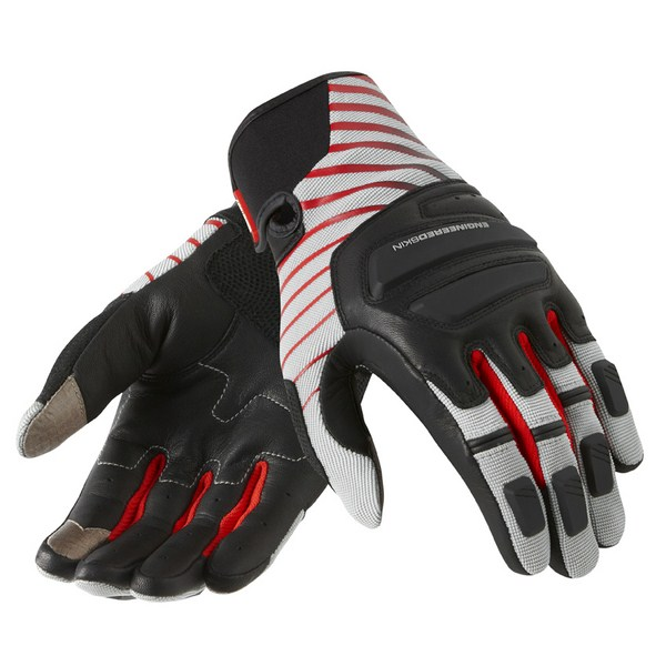 Leather motorcycle gloves Rev'it Summer Neutron Silver Red