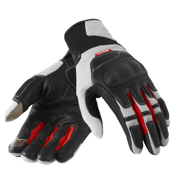 Leather motorcycle gloves Rev'it Summer Striker Silver Red