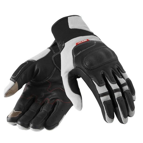 Leather motorcycle gloves Rev'it Summer Striker Silver Black