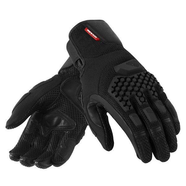 Leather motorcycle gloves summer Rev'it Sand Pro Black