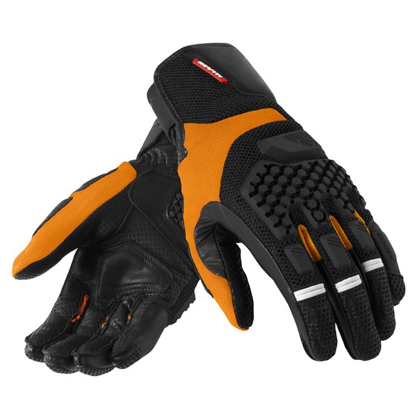 Leather motorcycle gloves summer Rev'it Sand Pro Black Orang