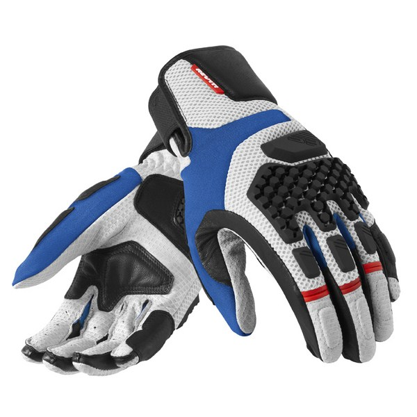 Leather motorcycle gloves summer Rev'it Sand Pro Silver Blue