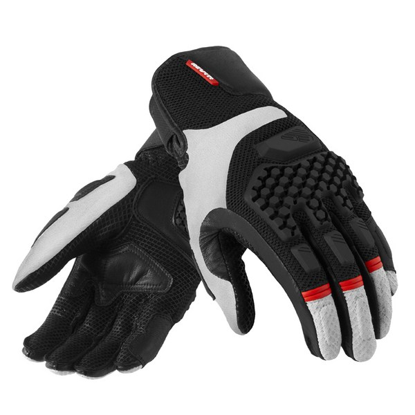 Leather motorcycle gloves summer Rev'it Sand Pro Silver Blac