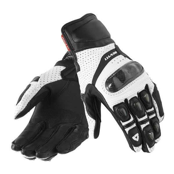 Rev'it Chevron leather summer gloves White black