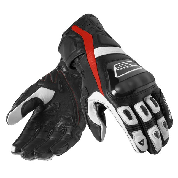 Leather motorcycle gloves Rev'it Summer Stellar Black Red
