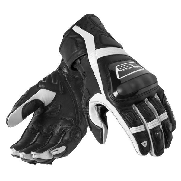Leather motorcycle gloves Rev'it Summer Stellar Black White