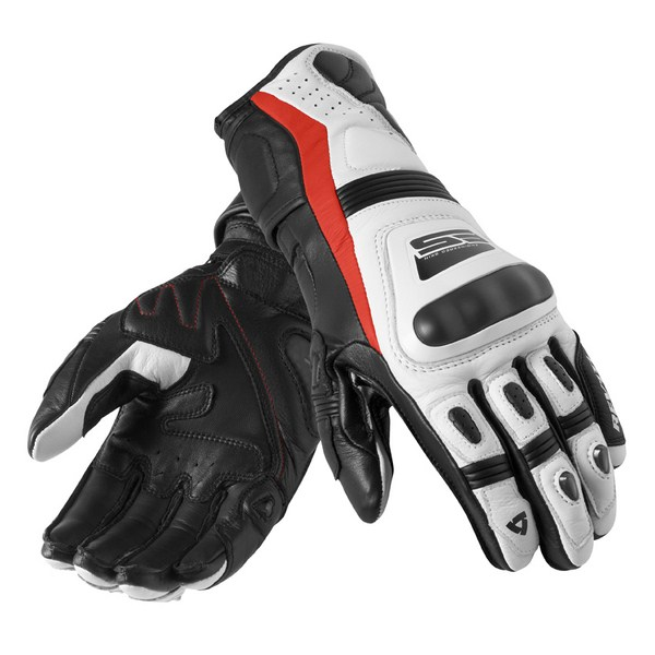 Leather motorcycle gloves Rev'it Summer Stellar White Red