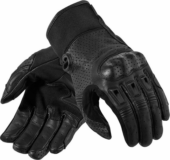 Black leather motorcycle gloves Rev'It Bomber