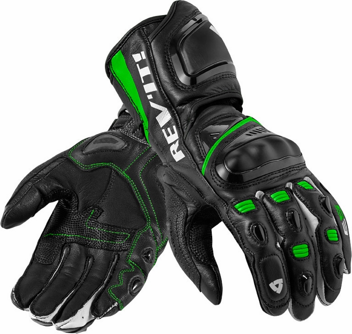 Rev'it Jerez Pro leather gloves black green