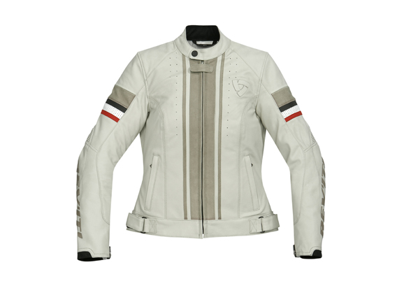 Giacca moto donna in pelle Rev'it CR Ladies  Panna-Titanio