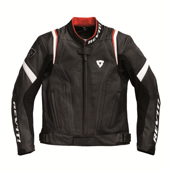 Leather motorcycle jacket Rev'it Warrior Black Red