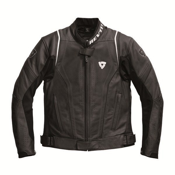 Leather motorcycle jacket Rev'it Warrior Black White